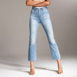 Denim Forum The Bailey Patch Crop High Rise Jeans